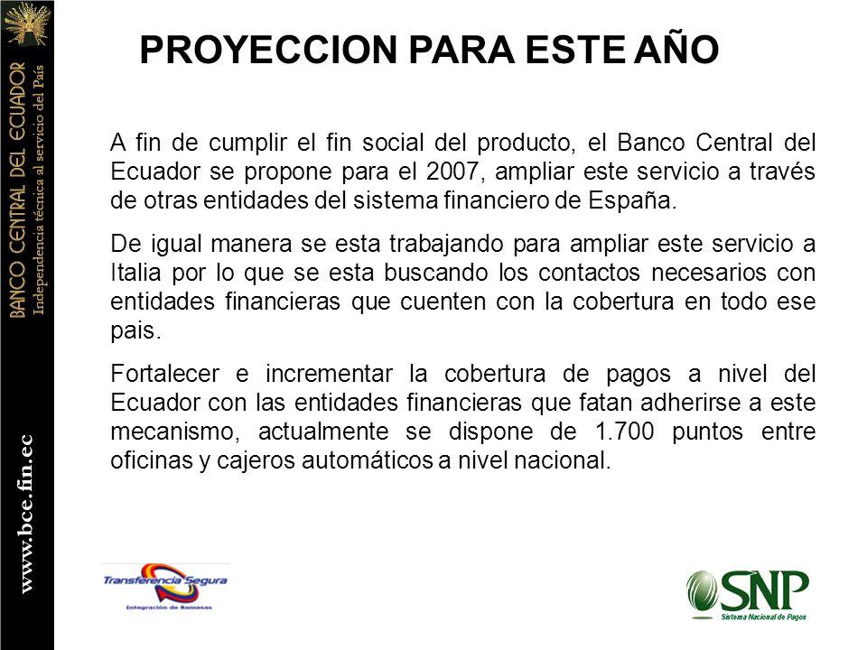 PROYECCION PARA ESTE AÑO A fin de cumplir el fin social del producto, el Banco Central del Ecuador se propone para el 2007, ampliar este servicio a través de otras entidades del sistema financiero de España.