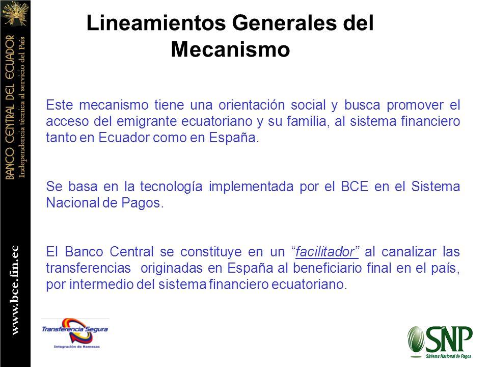 Lineamientos Generales del Mecanismo Este mecanismo tiene una orientación social y busca promover el acceso del emigrante ecuatoriano y su familia, al