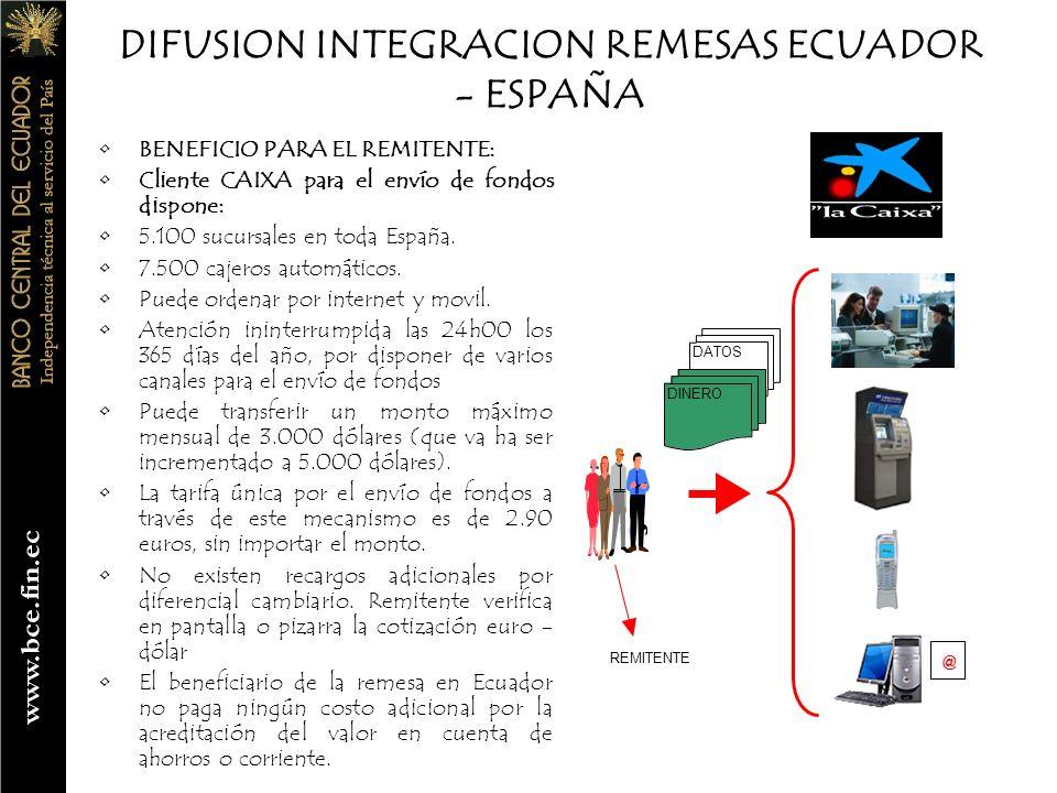 DIFUSION INTEGRACION REMESAS ECUADOR - ESPAÑA BENEFICIO PARA EL REMITENTE: No cliente CAIXA para el envío de fondos dispone: 5.100 sucursales en toda España.