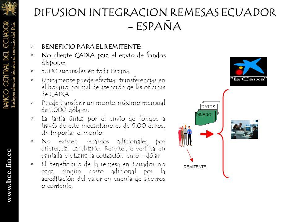 DIFUSION INTEGRACION REMESAS ECUADOR - ESPAÑA BENEFICIO PARA EL RECEPTOR: Disponer a través del Sistema Nacional de Pagos del BCE de 57 entidades del sistema financiero para la recepción de los fondos remitidos.