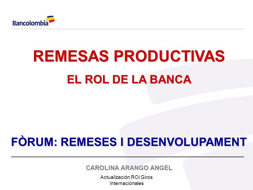Actualización ROI Giros Internacionales REMESAS CON DESTINO A VIVIENDA 100% 4057Total 21.9%888 Otros 4.3%174 Electrodomésticos 8.0%325 Acciones Bursátiles 11.5%468 Vehículo 54.3%2202 Finca Raíz Porcentaje Número de respuestas Tipo de Inversión Intención de inversión en Colombia: Estas intenciones parecen motivadas, más que por cálculos de rentabilidad, por lealtades familiares y por la necesidad de estrechar los vínculos con Colombia y de aclimatar un posible retorno.
