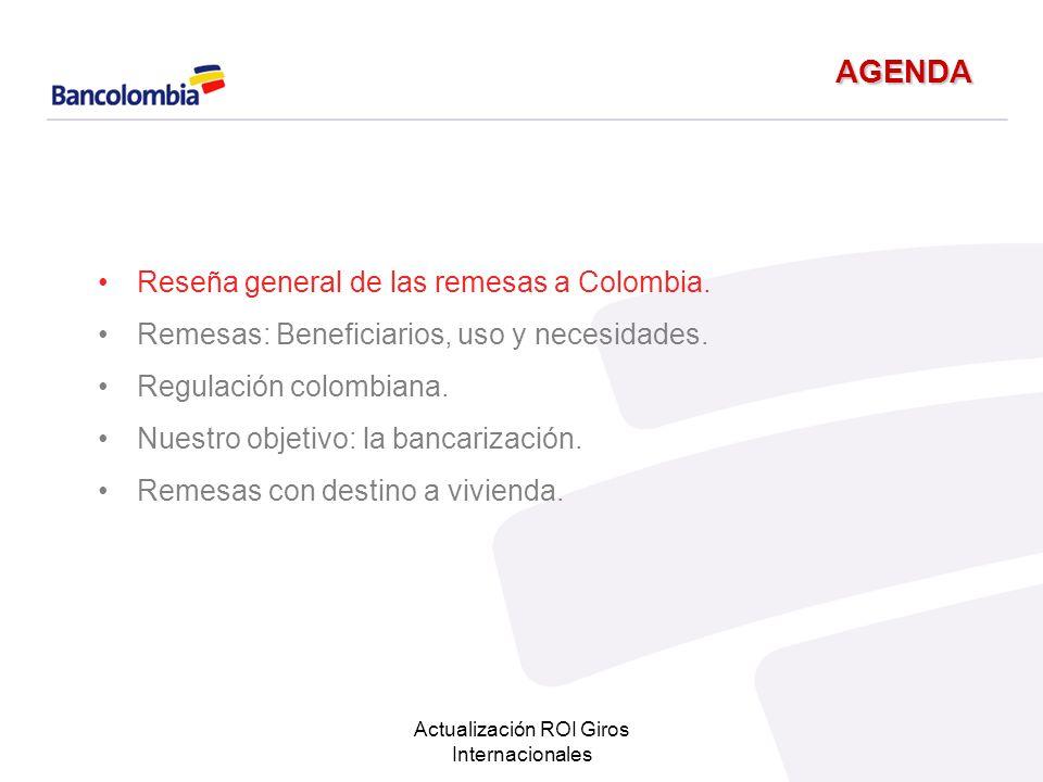 Actualización ROI Giros Internacionales Nuestra estrategia… Se estructuran 2 canales de atención en el exterior a la demanda de créditos de vivienda en Colombia Atención por medio de brokers Oficinas de representación del Banco para la promoción de productos a los NO RESIDENTES.