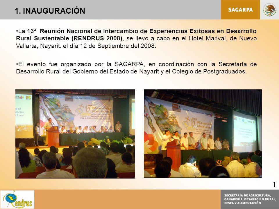 La 13ª Reunión Nacional de Intercambio de Experiencias Exitosas en Desarrollo Rural Sustentable (RENDRUS 2008), se llevo a cabo en el Hotel Marival, d