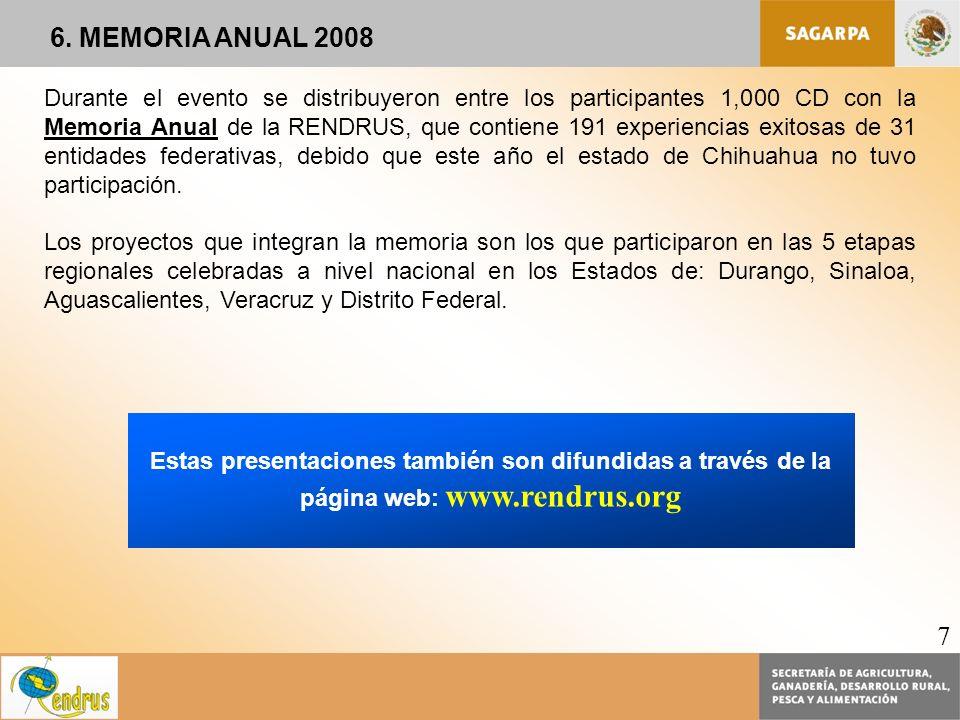 Estas presentaciones también son difundidas a través de la página web: www.rendrus.org Durante el evento se distribuyeron entre los participantes 1,00