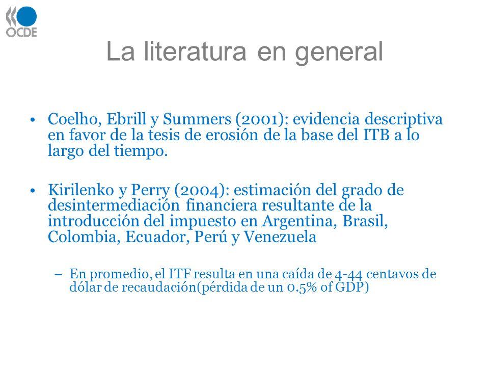 La literatura en general Coelho, Ebrill y Summers (2001): evidencia descriptiva en favor de la tesis de erosión de la base del ITB a lo largo del tiempo.
