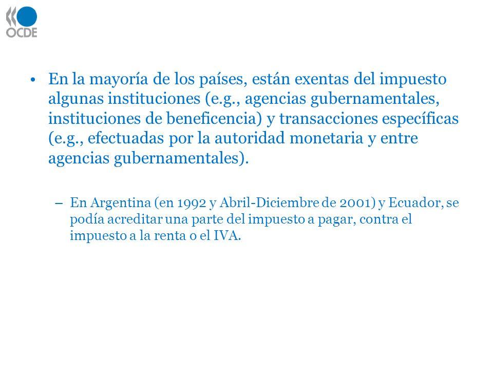 En la mayoría de los países, están exentas del impuesto algunas instituciones (e.g., agencias gubernamentales, instituciones de beneficencia) y transacciones específicas (e.g., efectuadas por la autoridad monetaria y entre agencias gubernamentales).