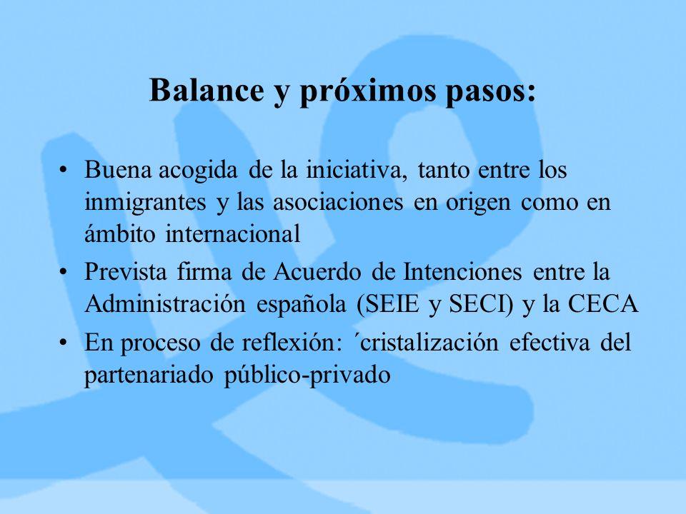 Balance y próximos pasos: Buena acogida de la iniciativa, tanto entre los inmigrantes y las asociaciones en origen como en ámbito internacional Prevista firma de Acuerdo de Intenciones entre la Administración española (SEIE y SECI) y la CECA En proceso de reflexión: ´cristalización efectiva del partenariado público-privado