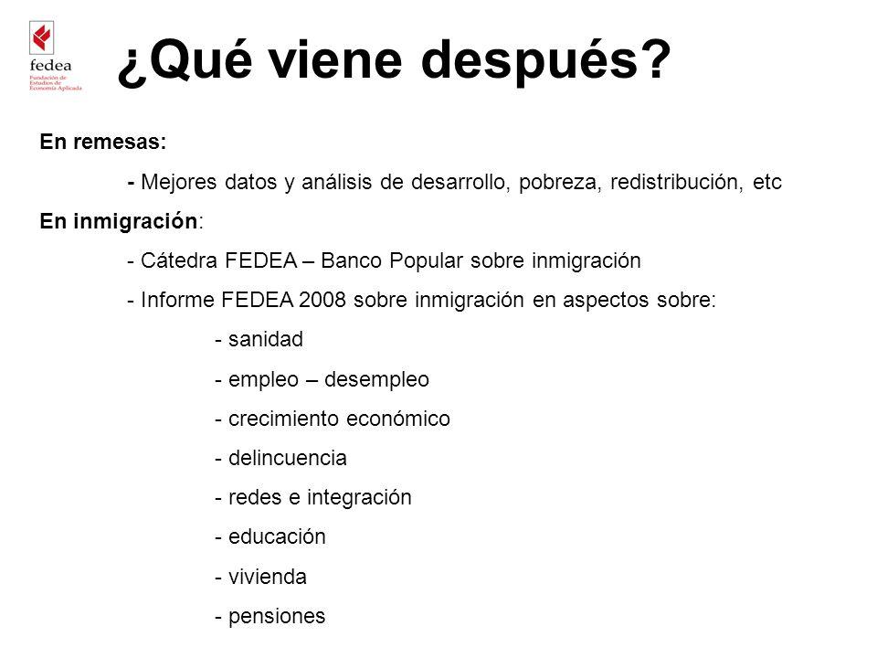 En remesas: - Mejores datos y análisis de desarrollo, pobreza, redistribución, etc En inmigración: - Cátedra FEDEA – Banco Popular sobre inmigración -
