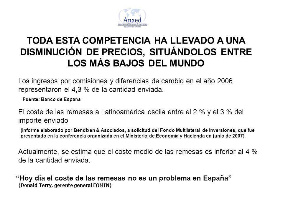 TODA ESTA COMPETENCIA HA LLEVADO A UNA DISMINUCIÓN DE PRECIOS, SITUÁNDOLOS ENTRE LOS MÁS BAJOS DEL MUNDO El coste de las remesas a Latinoamérica oscila entre el 2 % y el 3 % del importe enviado Hoy día el coste de las remesas no es un problema en España (Donald Terry, gerente general FOMIN) (Informe elaborado por Bendixen & Asociados, a solicitud del Fondo Multilateral de Inversiones, que fue presentado en la conferencia organizada en el Ministerio de Economía y Hacienda en junio de 2007).