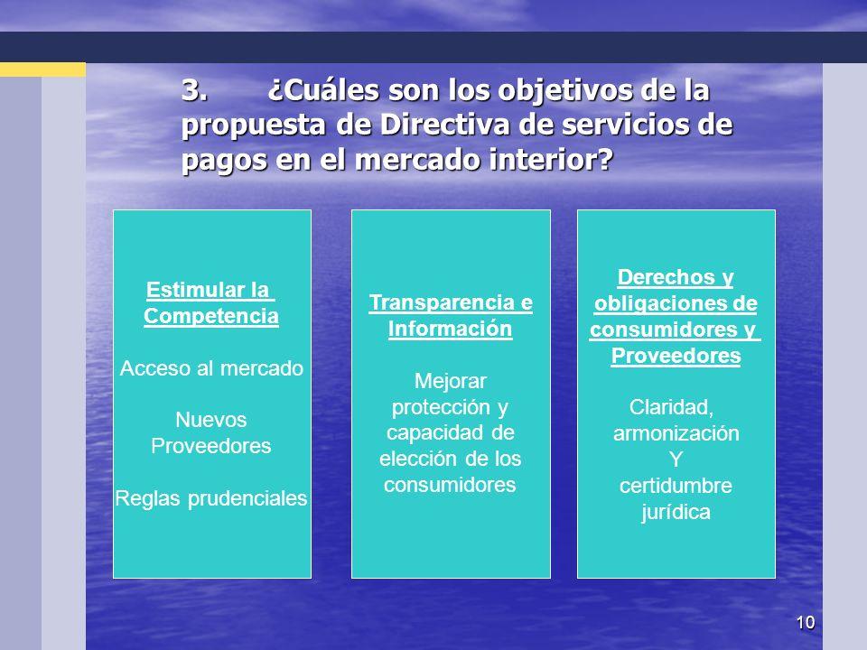 10 3.¿Cuáles son los objetivos de la propuesta de Directiva de servicios de pagos en el mercado interior.