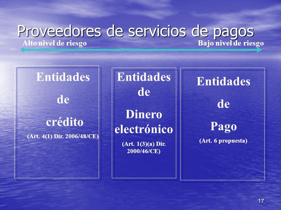 17 Proveedores de servicios de pagos Entidades de Dinero electrónico (Art.