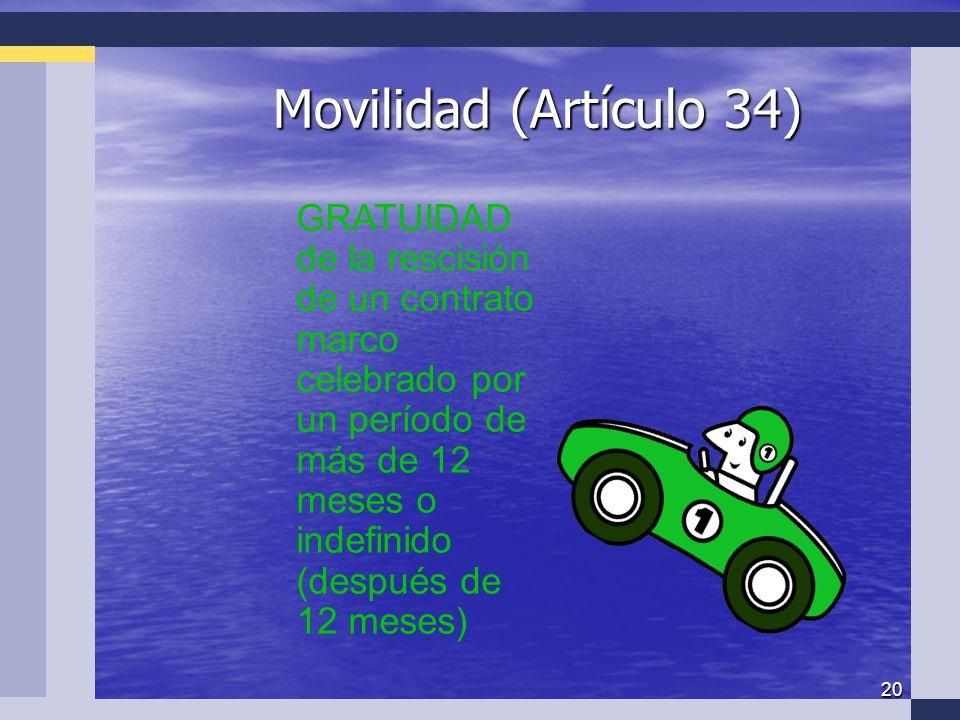20 Movilidad (Artículo 34) GRATUIDAD de la rescisión de un contrato marco celebrado por un período de más de 12 meses o indefinido (después de 12 meses)