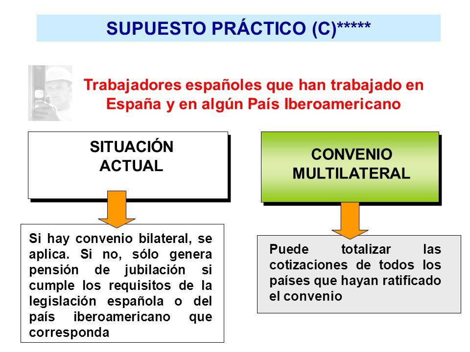 SUPUESTO PRÁCTICO (C)***** Trabajadores españoles que han trabajado en España y en algún País Iberoamericano SITUACIÓN ACTUAL CONVENIO MULTILATERAL Si