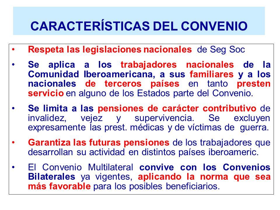 CARACTERÍSTICAS DEL CONVENIO Respeta las legislaciones nacionales de Seg Soc Se aplica a los trabajadores nacionales de la Comunidad Iberoamericana, a