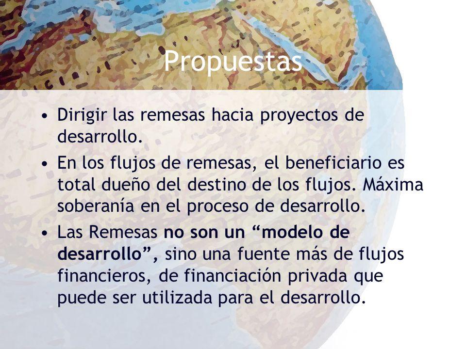 Propuestas Dirigir las remesas hacia proyectos de desarrollo.