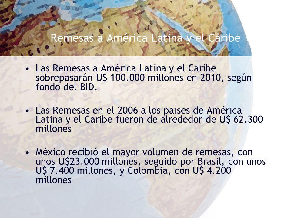 Remesas a América Latina y el Caribe Las Remesas a América Latina y el Caribe sobrepasarán U$ 100.000 millones en 2010, según fondo del BID.