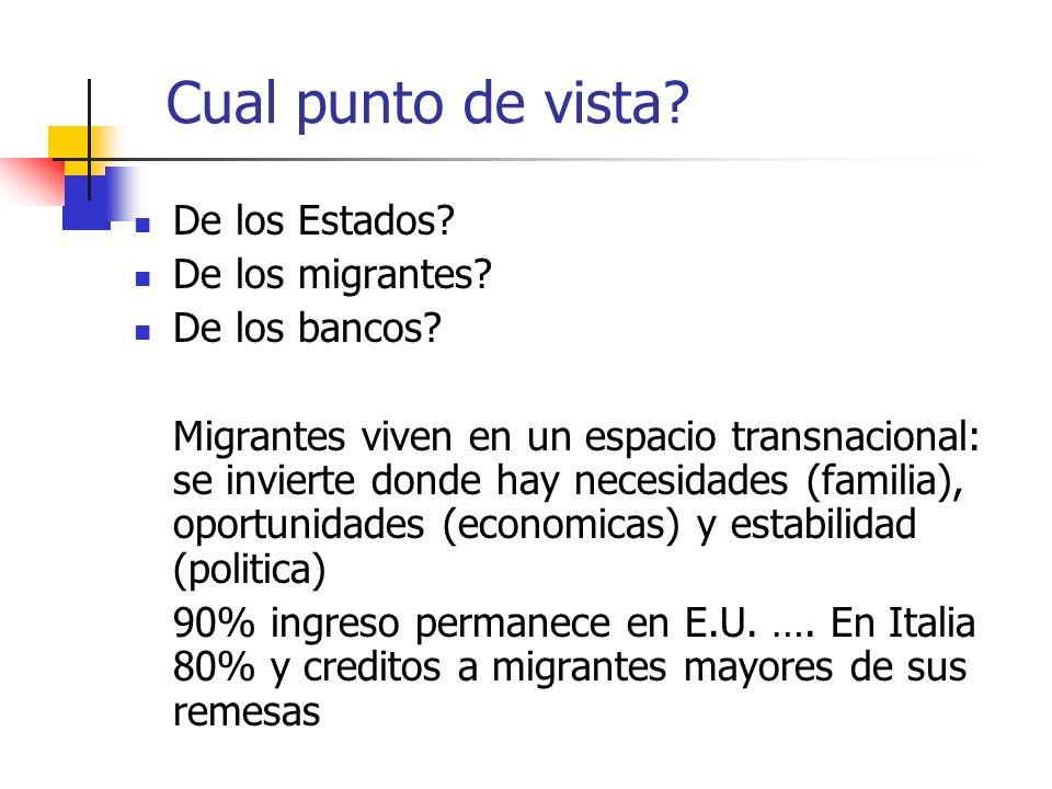 Cual punto de vista? De los Estados? De los migrantes? De los bancos? Migrantes viven en un espacio transnacional: se invierte donde hay necesidades (