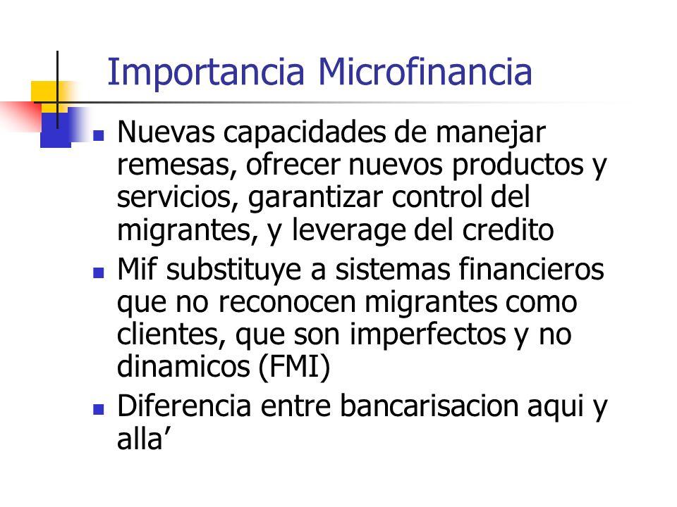 Importancia Microfinancia Nuevas capacidades de manejar remesas, ofrecer nuevos productos y servicios, garantizar control del migrantes, y leverage del credito Mif substituye a sistemas financieros que no reconocen migrantes como clientes, que son imperfectos y no dinamicos (FMI) Diferencia entre bancarisacion aqui y alla