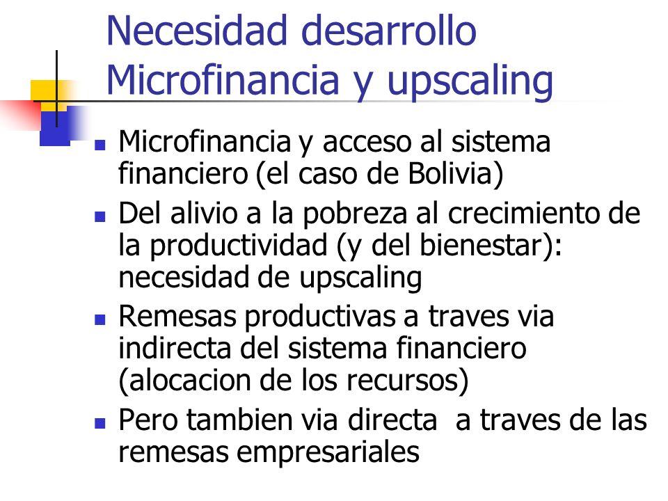 Necesidad desarrollo Microfinancia y upscaling Microfinancia y acceso al sistema financiero (el caso de Bolivia) Del alivio a la pobreza al crecimiento de la productividad (y del bienestar): necesidad de upscaling Remesas productivas a traves via indirecta del sistema financiero (alocacion de los recursos) Pero tambien via directa a traves de las remesas empresariales