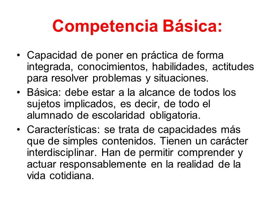 Competencia Básica: Capacidad de poner en práctica de forma integrada, conocimientos, habilidades, actitudes para resolver problemas y situaciones.