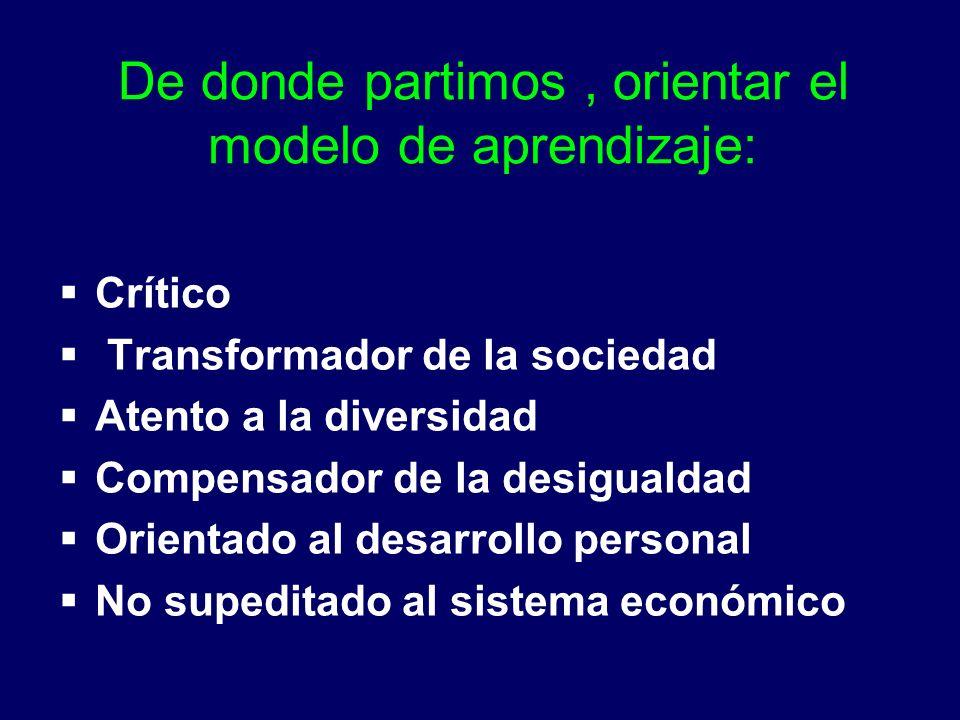 De donde partimos, orientar el modelo de aprendizaje: Crítico Transformador de la sociedad Atento a la diversidad Compensador de la desigualdad Orientado al desarrollo personal No supeditado al sistema económico