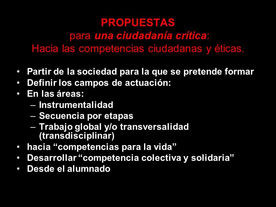 PROPUESTAS para una ciudadanía crítica: Hacia las competencias ciudadanas y éticas.