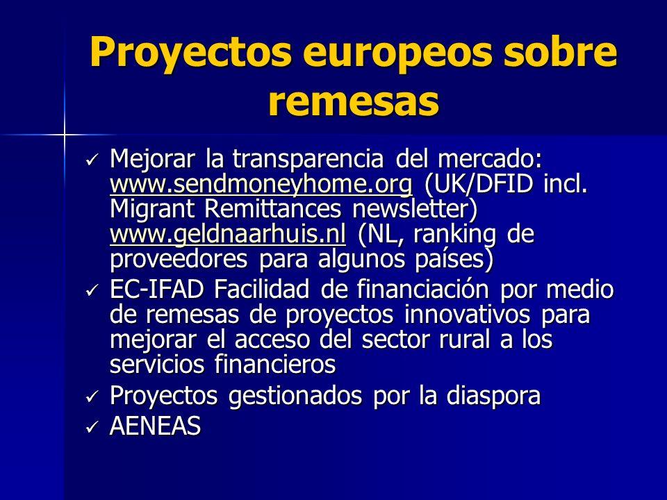 Proyectos europeos sobre remesas Mejorar la transparencia del mercado: www.sendmoneyhome.org (UK/DFID incl.
