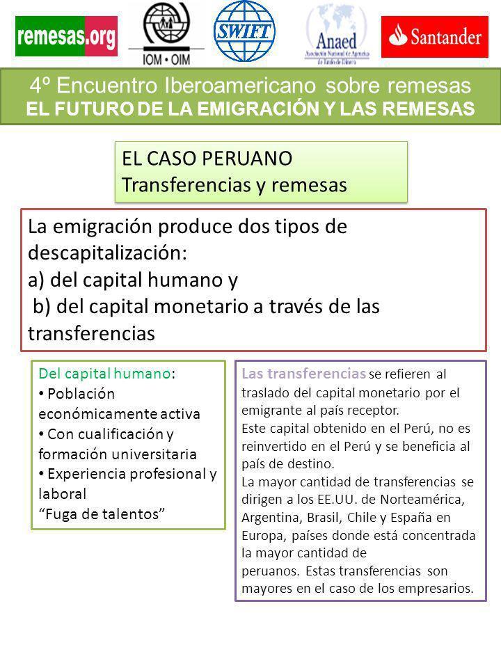 4º Encuentro Iberoamericano sobre remesas EL FUTURO DE LA EMIGRACIÓN Y LAS REMESAS EL CASO PERUANO Transferencias y remesas EL CASO PERUANO Transferen