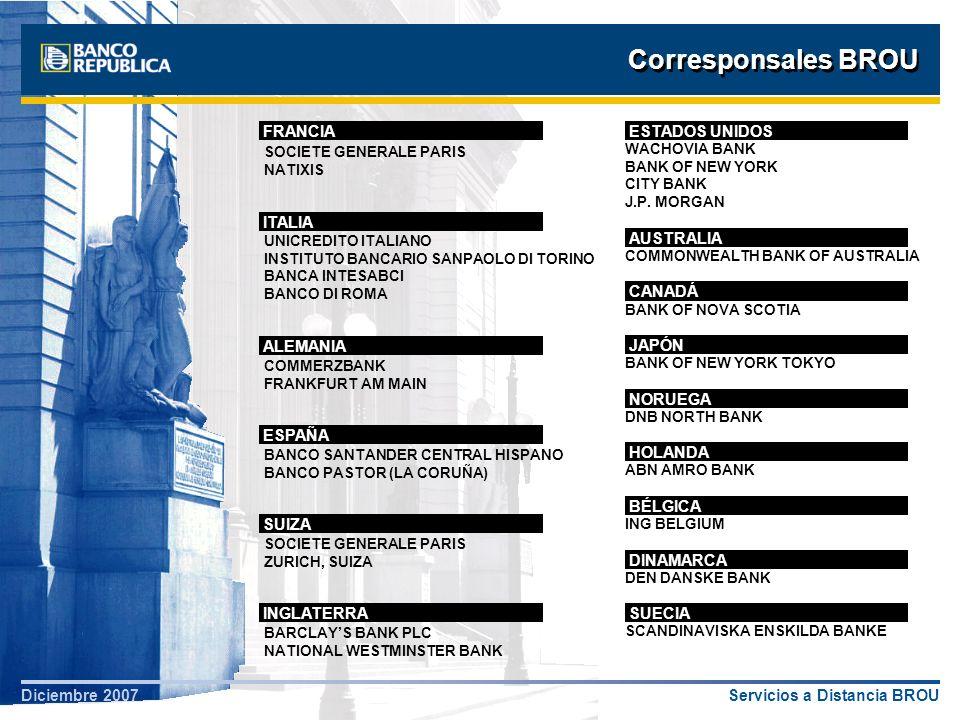 Servicios a Distancia BROUDiciembre 2007 Corresponsales BROU SOCIETE GENERALE PARIS NATIXIS WACHOVIA BANK BANK OF NEW YORK CITY BANK J.P. MORGAN UNICR