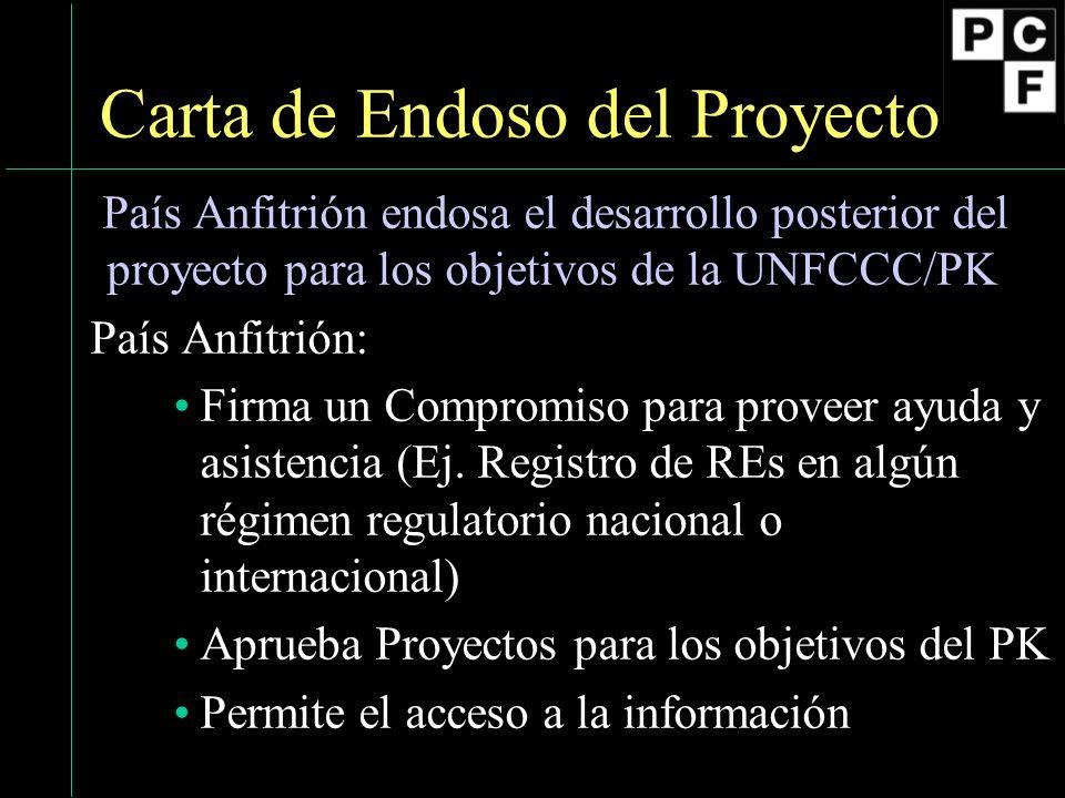 16 Carta de Endoso del Proyecto País Anfitrión endosa el desarrollo posterior del proyecto para los objetivos de la UNFCCC/PK País Anfitrión: Firma un Compromiso para proveer ayuda y asistencia (Ej.