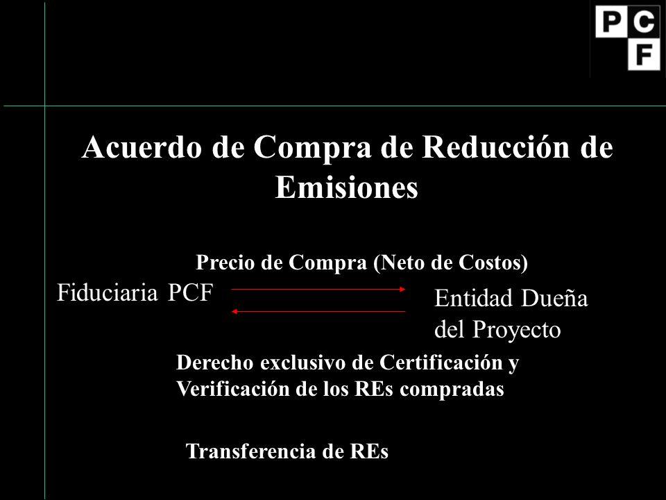 Elementos principales del Acuerdo de Compra de Reducción de Emisiones (ACRE) Compra de REs a la Entidad Dueña del Proyecto / Pago por adquirir REs PCF se compromete a organizar la verificación inicial y periódica, validación y certificación.