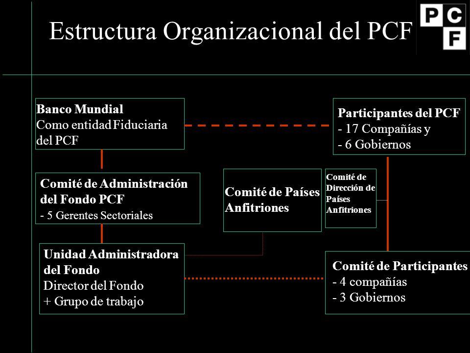 Estructura Organizacional del PCF Banco Mundial Como entidad Fiduciaria del PCF Participantes del PCF - 17 Compañías y - 6 Gobiernos Comité de Administración del Fondo PCF - 5 Gerentes Sectoriales Unidad Administradora del Fondo Director del Fondo + Grupo de trabajo Comité de Participantes - 4 compañías - 3 Gobiernos Comité de Países Anfitriones Comité de Dirección de Países Anfitriones