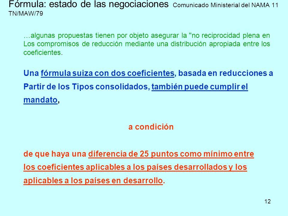 12 Fórmula: estado de las negociaciones Comunicado Ministerial del NAMA 11 TN/MAW/79 …algunas propuestas tienen por objeto asegurar la