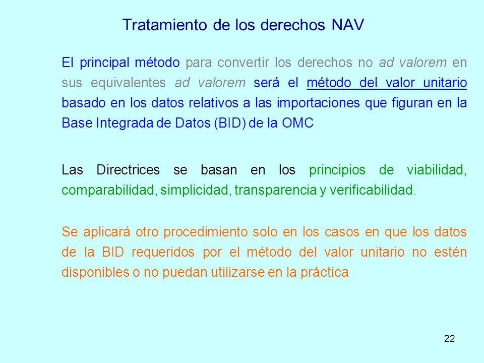 22 Tratamiento de los derechos NAV El principal método para convertir los derechos no ad valorem en sus equivalentes ad valorem será el método del val