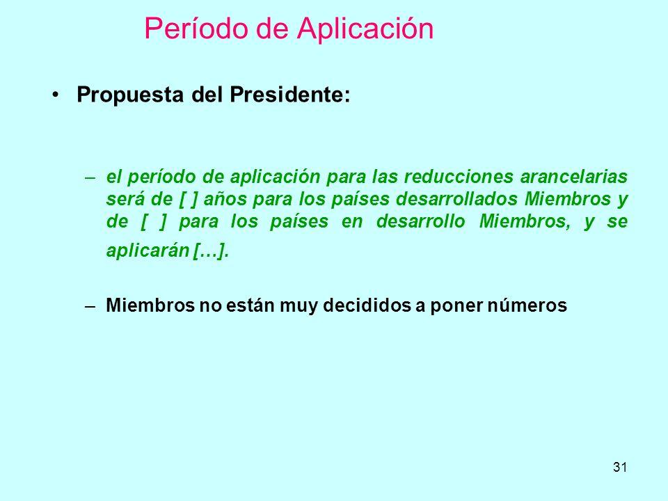 31 Período de Aplicación Propuesta del Presidente: –el período de aplicación para las reducciones arancelarias será de [ ] años para los países desarr