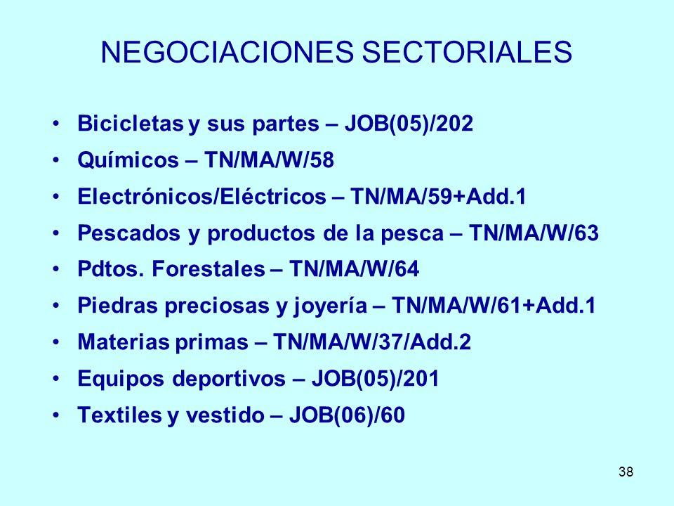 38 NEGOCIACIONES SECTORIALES Bicicletas y sus partes – JOB(05)/202 Químicos – TN/MA/W/58 Electrónicos/Eléctricos – TN/MA/59+Add.1 Pescados y productos