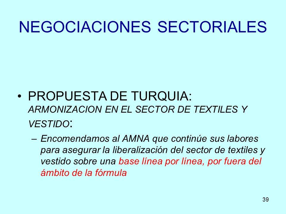 39 NEGOCIACIONES SECTORIALES PROPUESTA DE TURQUIA: ARMONIZACION EN EL SECTOR DE TEXTILES Y VESTIDO : –Encomendamos al AMNA que continúe sus labores pa
