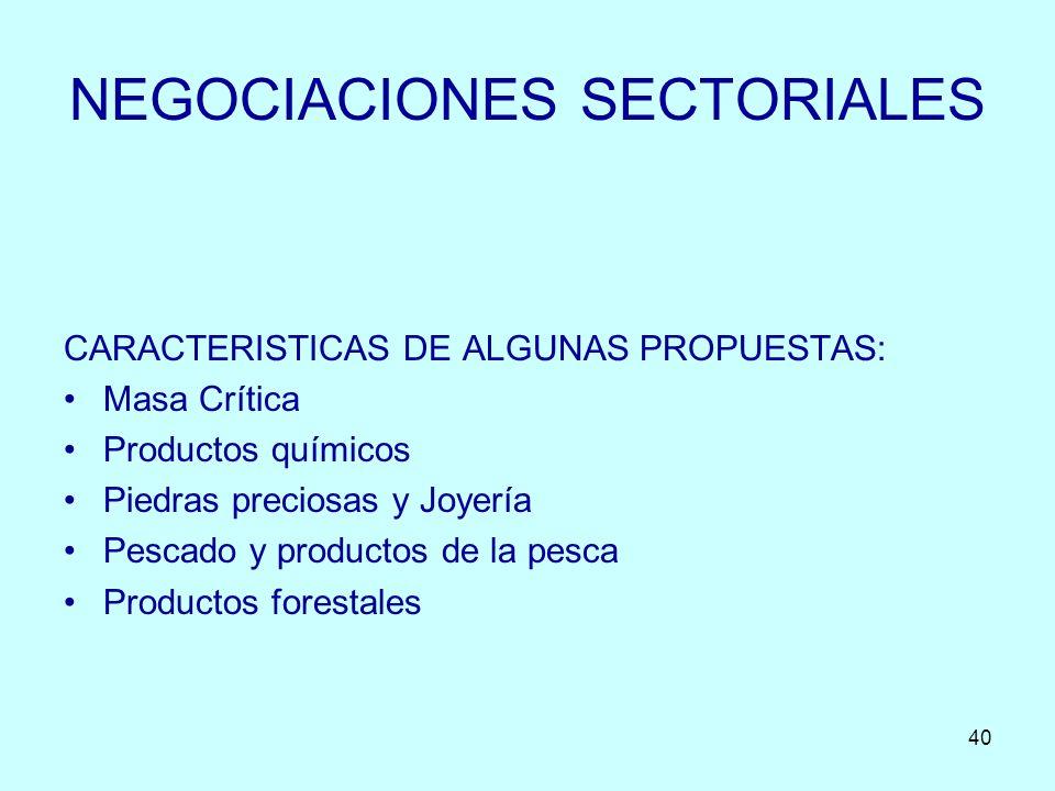 40 NEGOCIACIONES SECTORIALES CARACTERISTICAS DE ALGUNAS PROPUESTAS: Masa Crítica Productos químicos Piedras preciosas y Joyería Pescado y productos de
