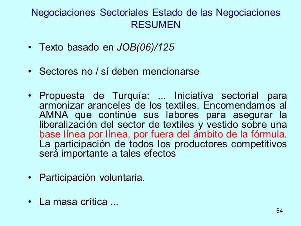 54 Negociaciones Sectoriales Estado de las Negociaciones RESUMEN Texto basado en JOB(06)/125 Sectores no / sí deben mencionarse Propuesta de Turquía:.