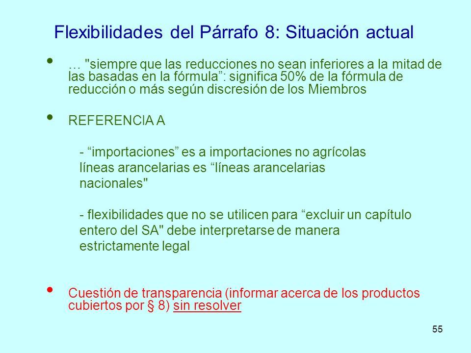 55 Flexibilidades del Párrafo 8: Situación actual …