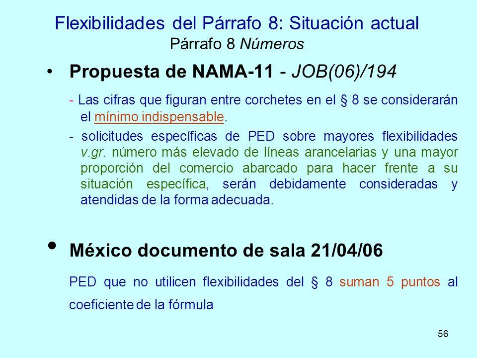 56 Flexibilidades del Párrafo 8: Situación actual Párrafo 8 Números Propuesta de NAMA-11 - JOB(06)/194 - Las cifras que figuran entre corchetes en el