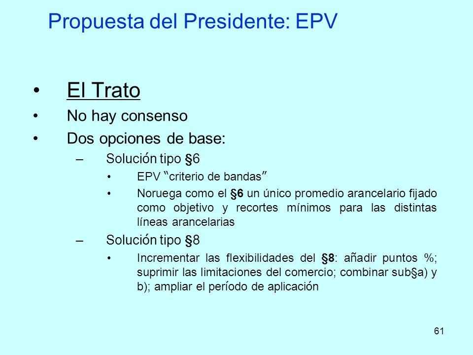61 Propuesta del Presidente: EPV El Trato No hay consenso Dos opciones de base: –Soluci ó n tipo §6 EPV criterio de bandas Noruega como el §6 un único