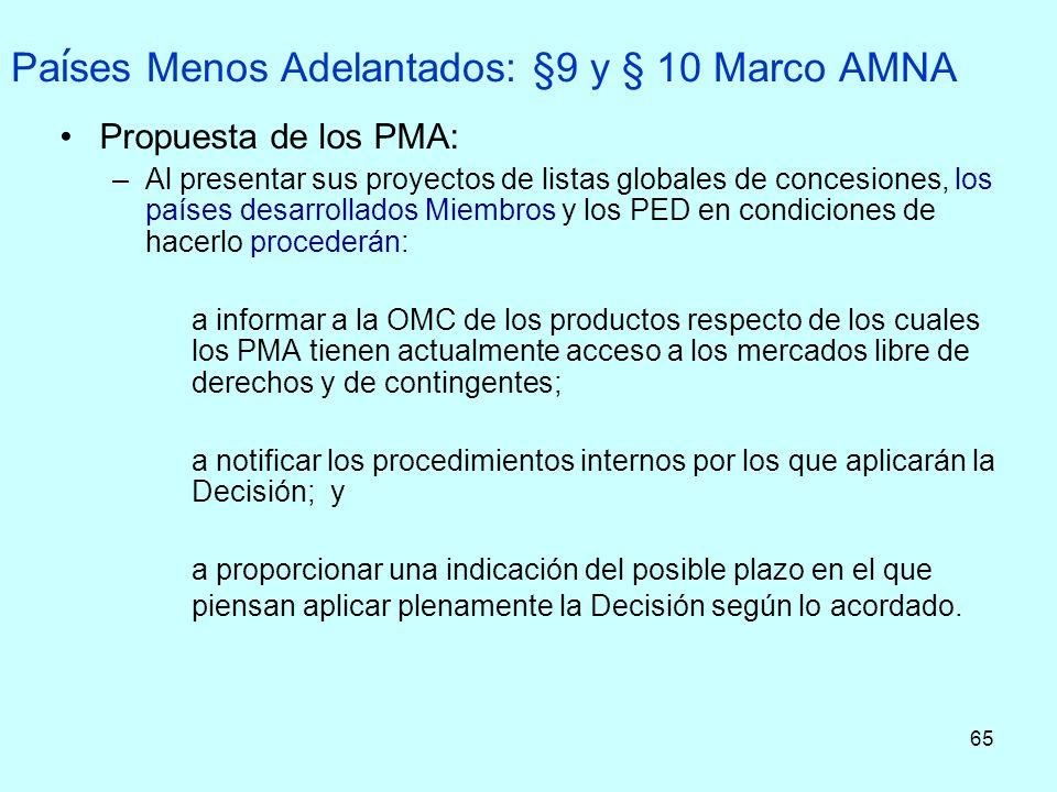65 Pa í ses Menos Adelantados: §9 y § 10 Marco AMNA Propuesta de los PMA: –Al presentar sus proyectos de listas globales de concesiones, los países de