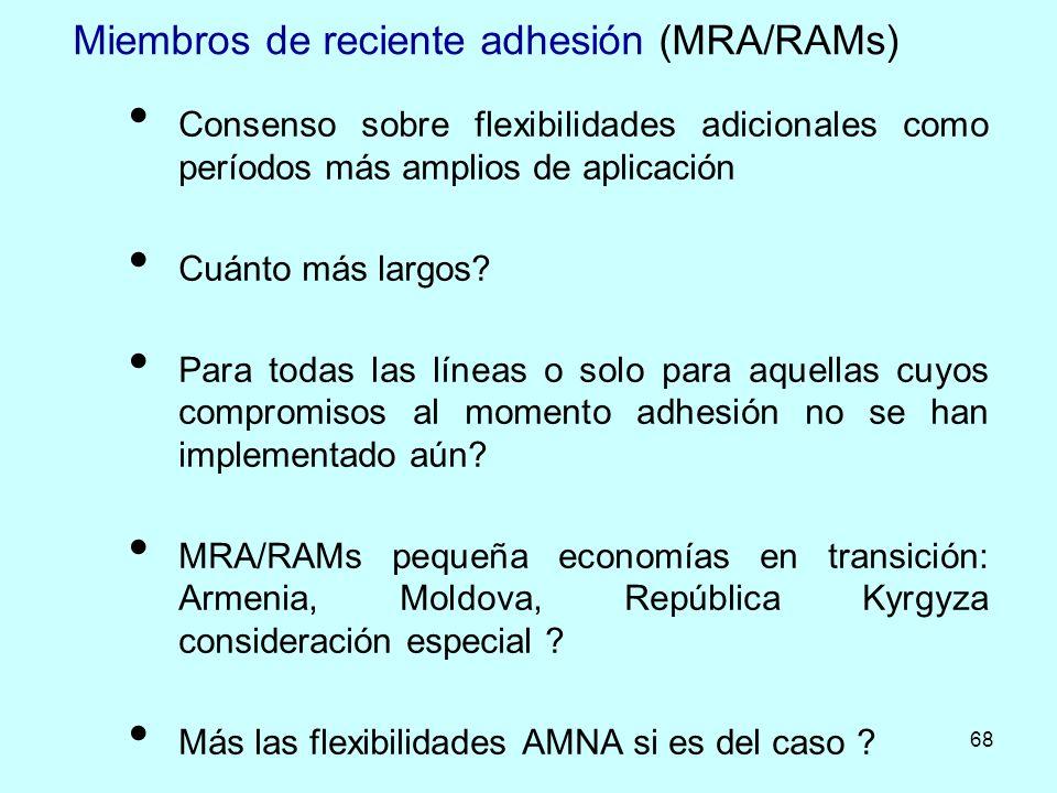 68 Miembros de reciente adhesión (MRA/RAMs) Consenso sobre flexibilidades adicionales como períodos más amplios de aplicación Cuánto más largos? Para