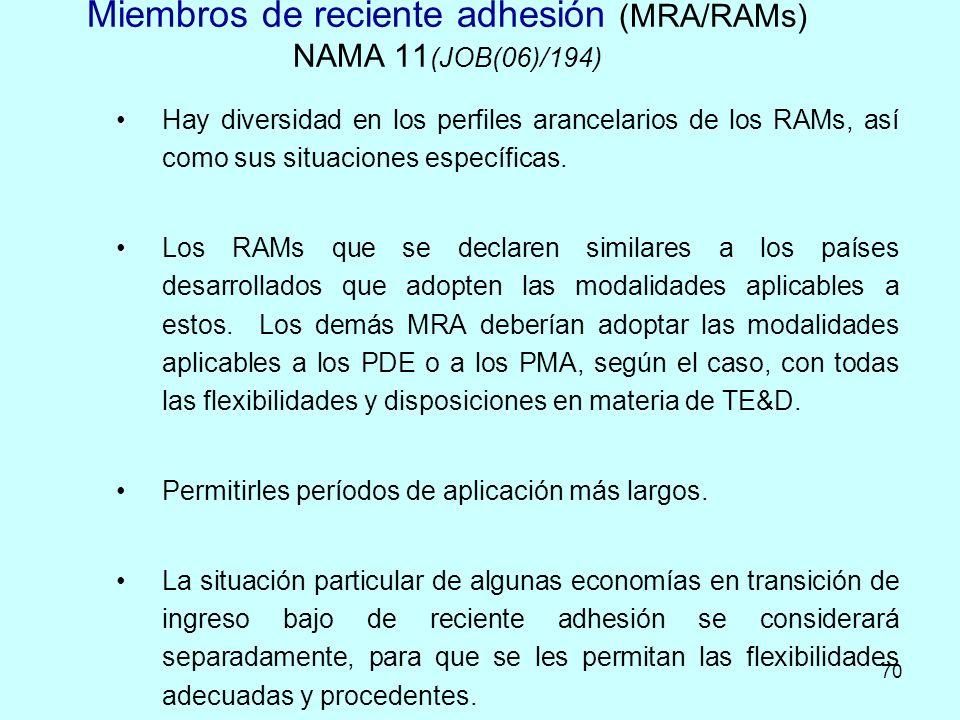70 Miembros de reciente adhesión (MRA/RAMs) NAMA 11 (JOB(06)/194) Hay diversidad en los perfiles arancelarios de los RAMs, así como sus situaciones es