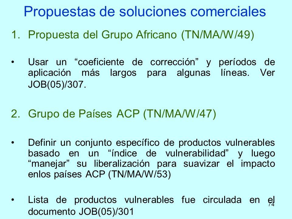 74 Propuestas de soluciones comerciales 1.Propuesta del Grupo Africano (TN/MA/W/49) Usar un coeficiente de corrección y períodos de aplicación más lar