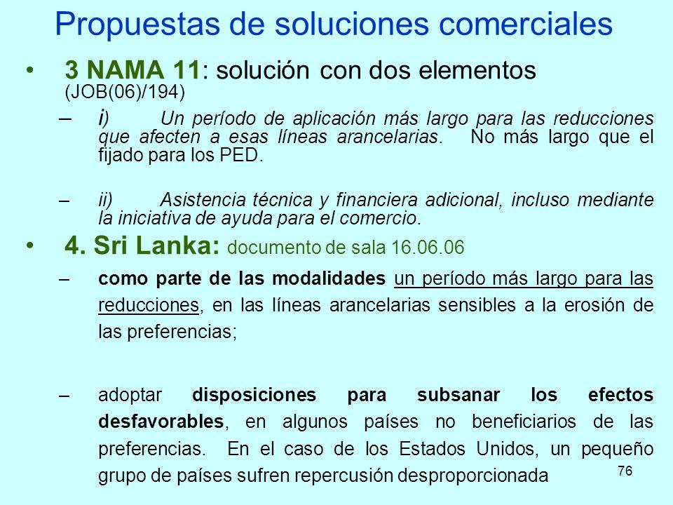 76 Propuestas de soluciones comerciales 3 NAMA 11: solución con dos elementos (JOB(06)/194) –i )Un período de aplicación más largo para las reduccione