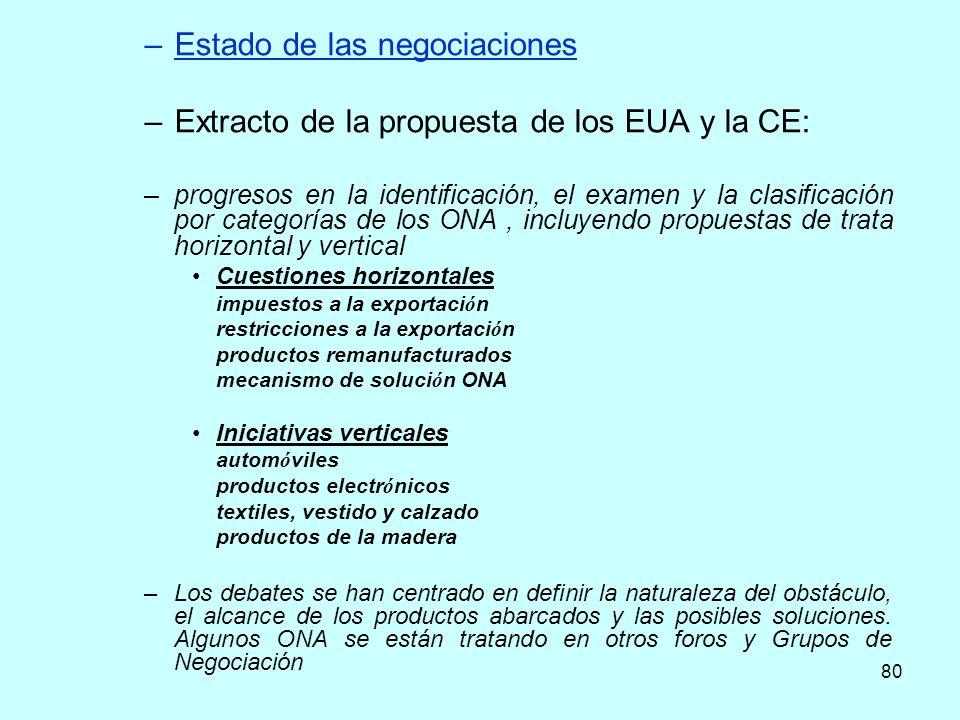 80 –Estado de las negociaciones –Extracto de la propuesta de los EUA y la CE: –progresos en la identificación, el examen y la clasificación por catego