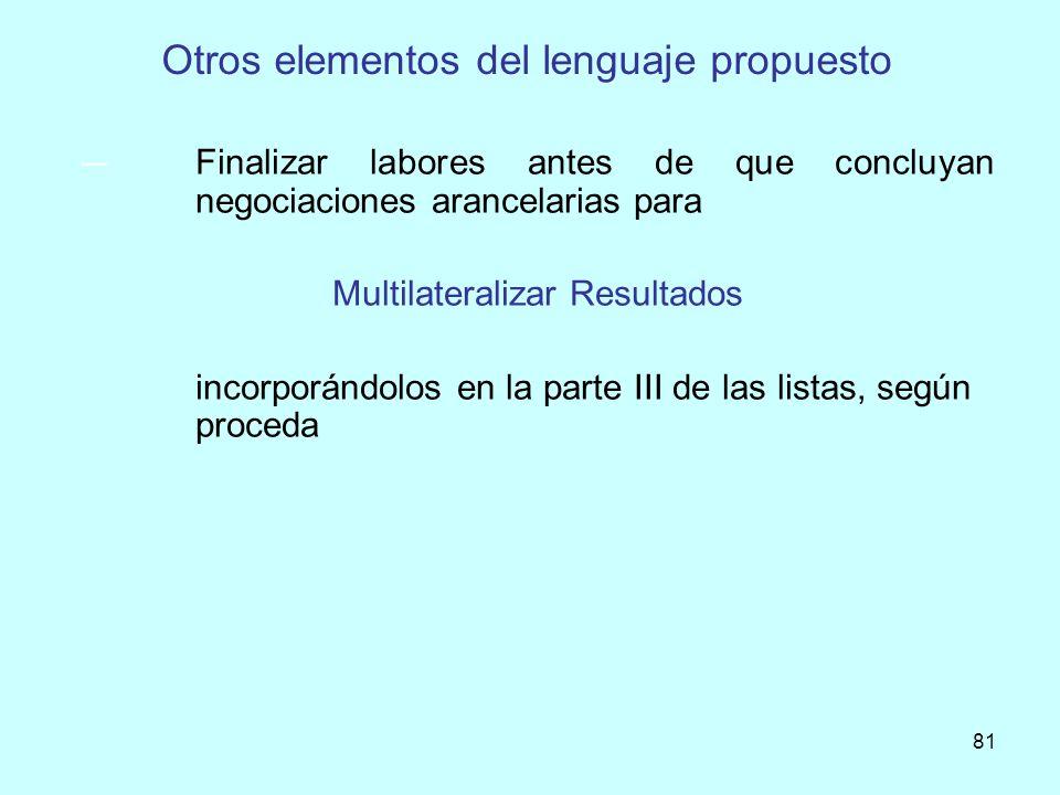 81 Otros elementos del lenguaje propuesto Finalizar labores antes de que concluyan negociaciones arancelarias para Multilateralizar Resultados incorpo