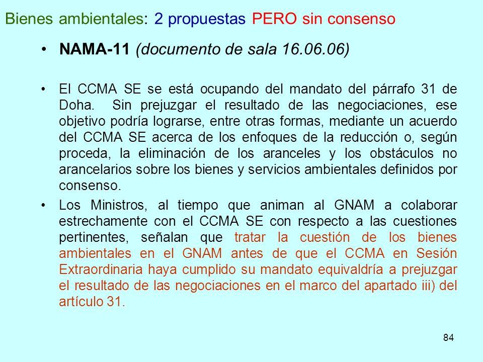 84 Bienes ambientales: 2 propuestas PERO sin consenso NAMA-11 (documento de sala 16.06.06) El CCMA SE se está ocupando del mandato del párrafo 31 de D